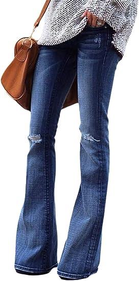 HX fashion レディースジーンズパンツハイウエストストレッチジーンズフレアデニムロングパンツファッション2019婦人服
