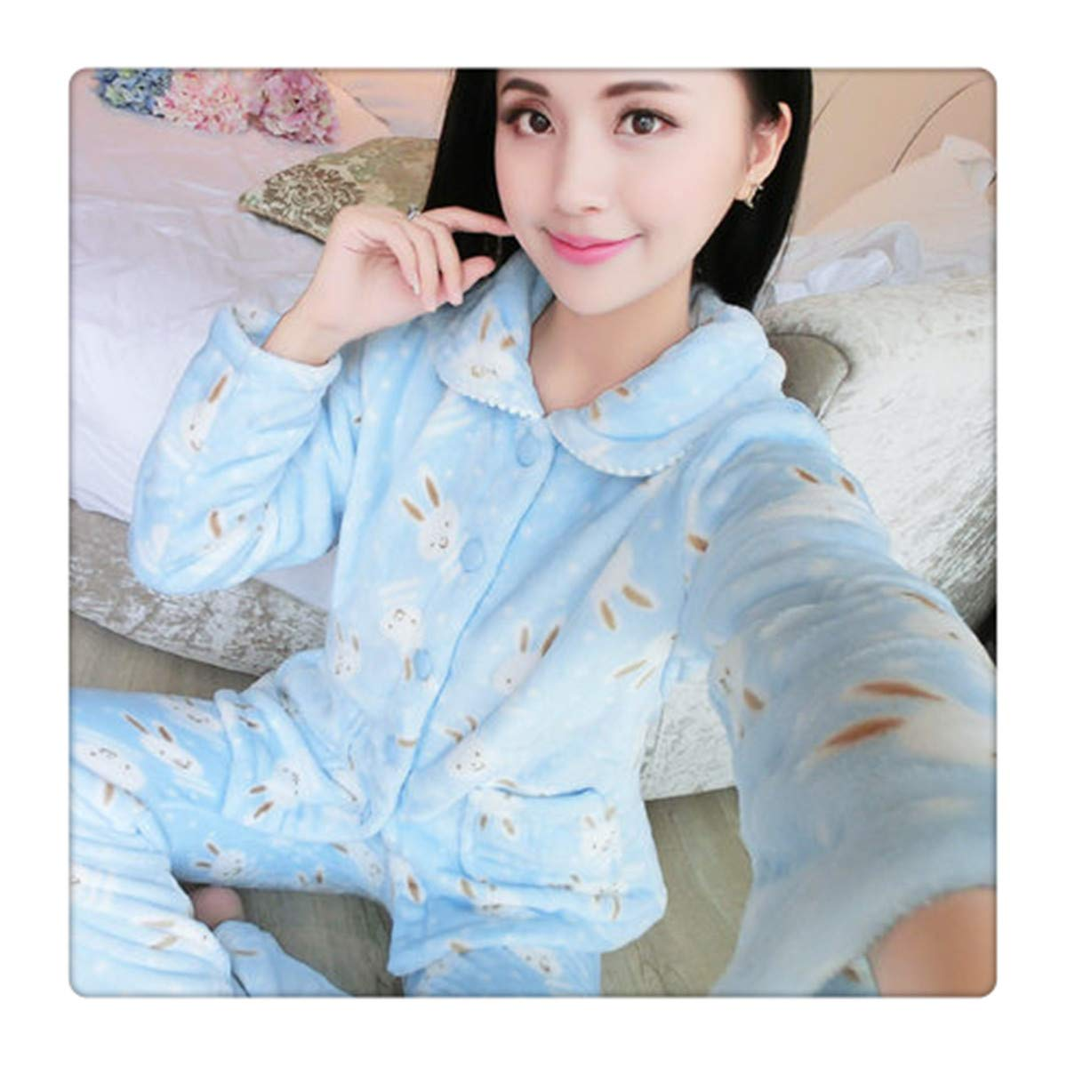 color 9 Angshanxia Autumn Flannel Women Pajamas Sets Female TurnDown Collar Full Sleepwear