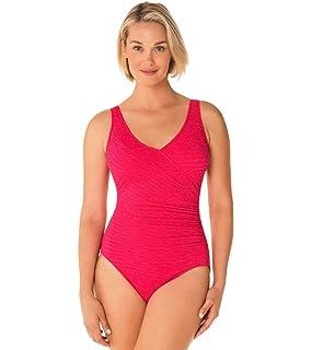 63cd4ae6d9e04 Penbrooke Women s Krinkle Chlorine-Proof Mock Surplice One Piece Swimsuit