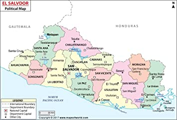 Amazon.com : El Salvador Political Map - Laminated (36