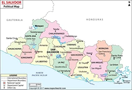 Amazon.com : El Salvador Political Map - Laminated (36\