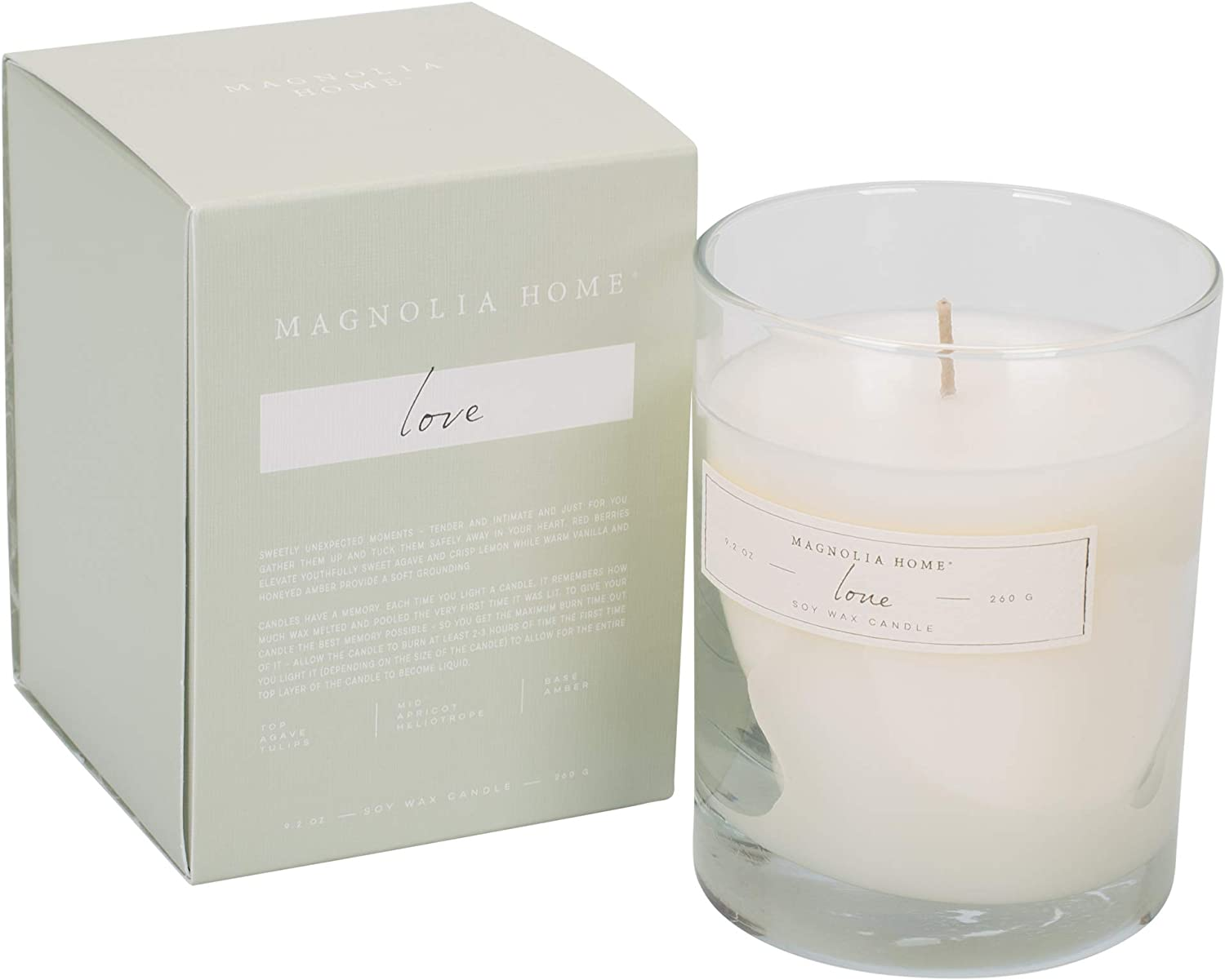 Magnolia Home Love Scented 9.2 oz Soy Wax Boxed Glass Candle by Joanna Gaines - Illume Pack of 2