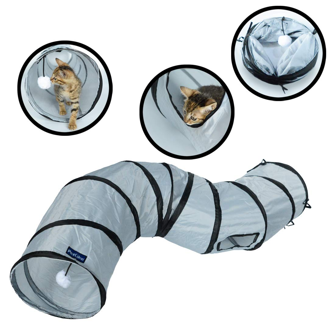 PetLike S Way Cat Tunnel Crinkle Collapsible Pet Tube Hideaway Play Toy with Ball by PetLike (Image #1)