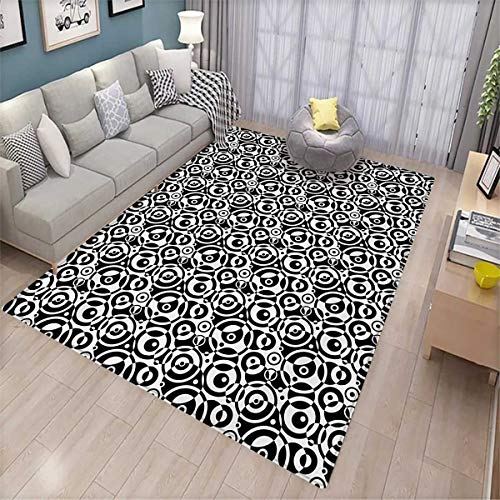 Bullseye Dots - Black and White Kids Carpet Playmat Rug Circular Pattern Monochrome Dots with Bullseye Design Abstract Modern Art Door Mats for Inside Non Slip Backing 6'x8' Black White