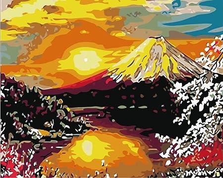 Coorart Diy Peinture Par Numero Adulte Enfant Volcan Coucher De Soleil 40x50cm Amazon Fr Cuisine Maison