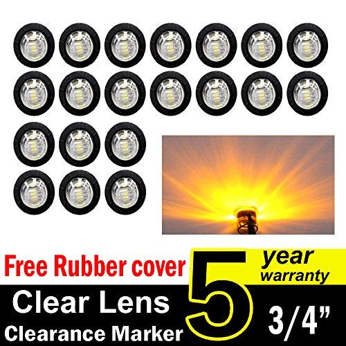 "New ( Pack of 20 ) TMH 3/4"" Inch Mount Clear Lens Amber LED Clearance Bullet Marker lights, Side LED marker lights for trailer Truck RV Car Bus Van"