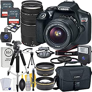 61SdR7EihhL. SS300  - Canon EOS Rebel T6 DSLR Camera w/ EF-S 18-55mm Lens + EF 75-300mm Lens + 2 X 32 GB Memory + Premium Accessory Bundle