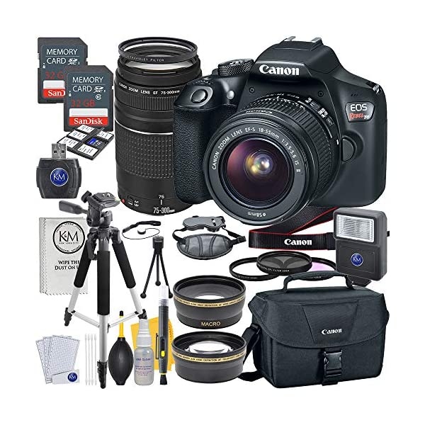 61SdR7EihhL. SS600  - Canon EOS Rebel T6 DSLR Camera w/ EF-S 18-55mm Lens + EF 75-300mm Lens + 2 X 32 GB Memory + Premium Accessory Bundle