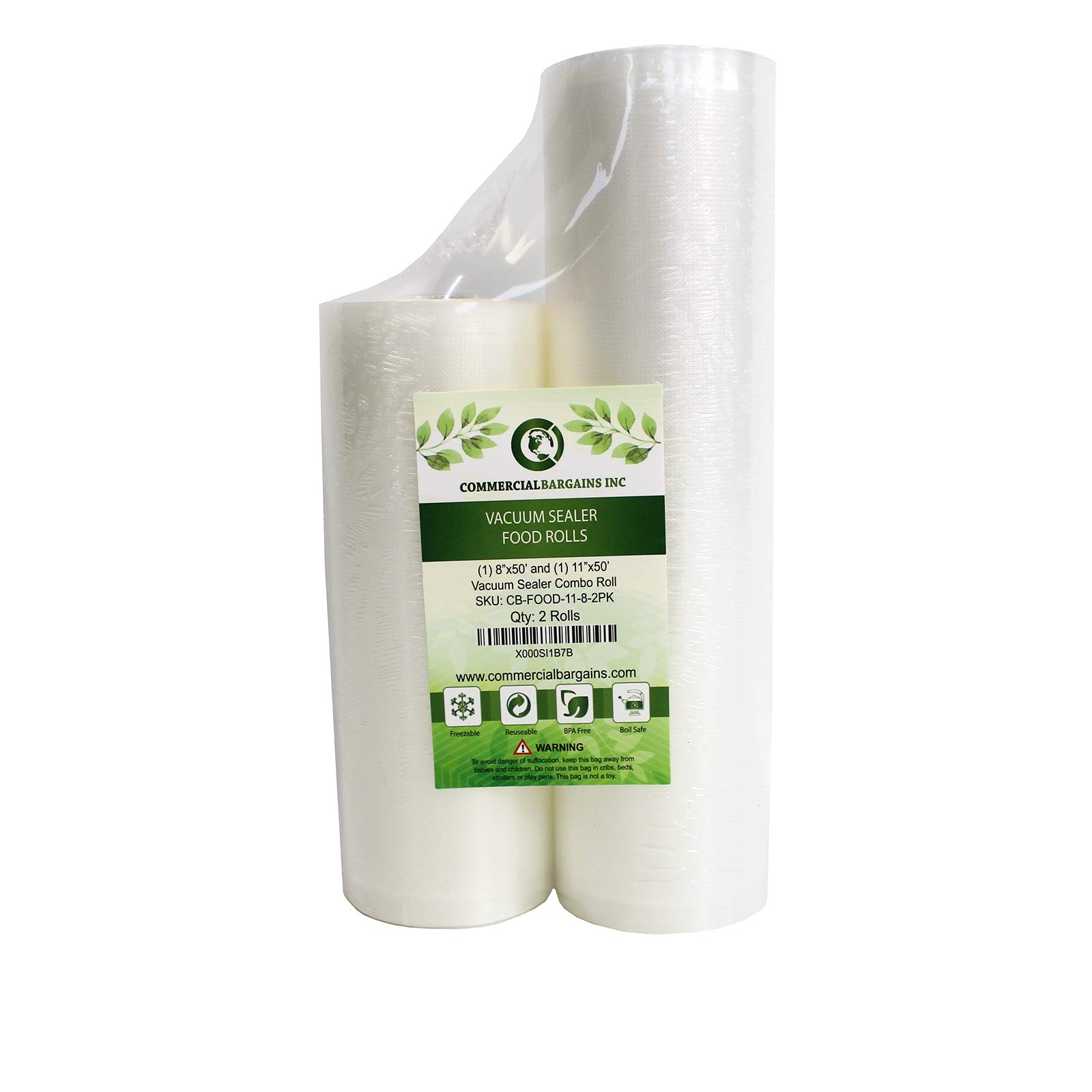 Commercial Bargains 11'' x 50' and 8'' x 50' Commercial Vacuum Sealer Saver Rolls Food Storage by Commercial Bargains