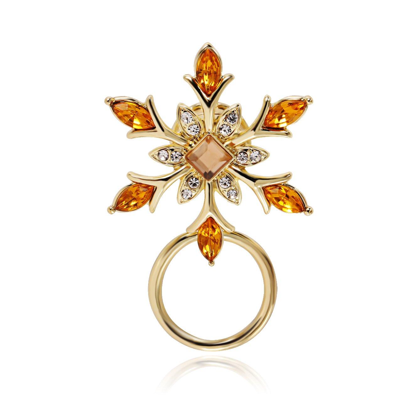 PANGRUI Winter Holiday Snowflake Flower Brooch Magnetic Eyeglasses Holder (gold)