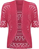 Womens Plus Size Crochet Knitted Short Sleeve Ladies Open Cardigan Top - Cerise - 18-20