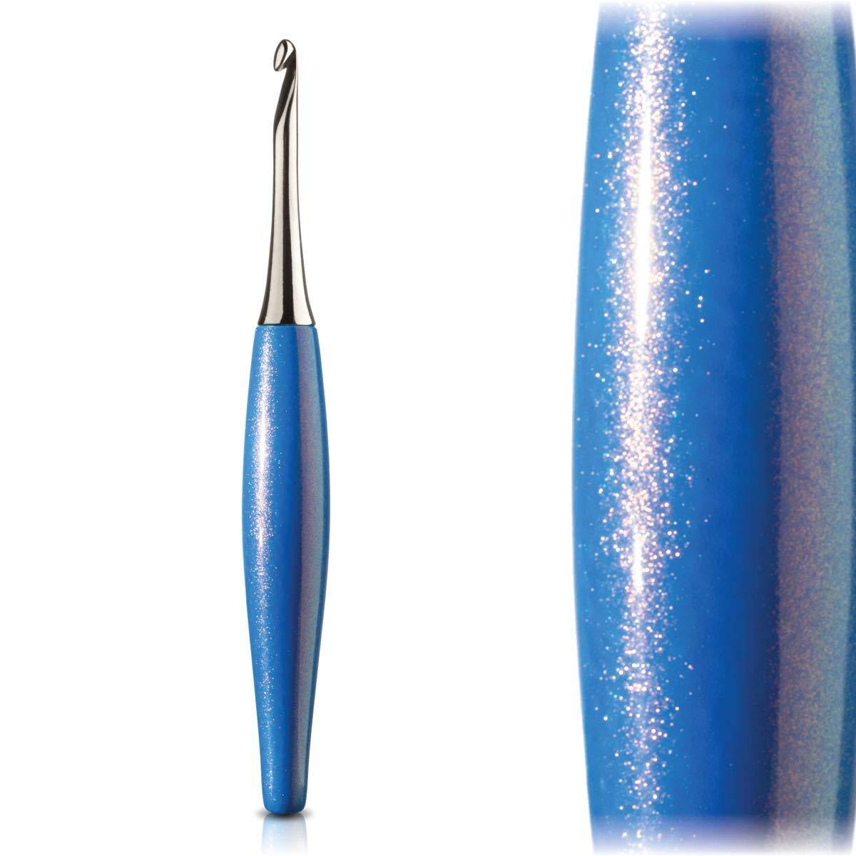 Furls Odyssey Crochet Hook Nickel Plated Tip for Effortless Glide, Blue Ergonomic Handle I - 5.5mm