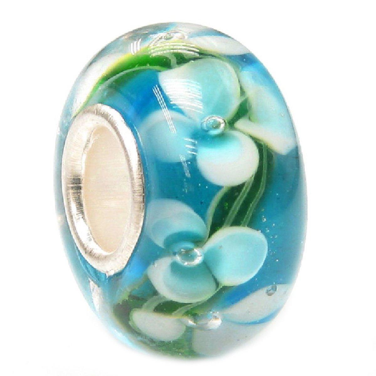 Blue Hawaii Flower Glass Bead Sterling Silver Core For European Charm Bracelets