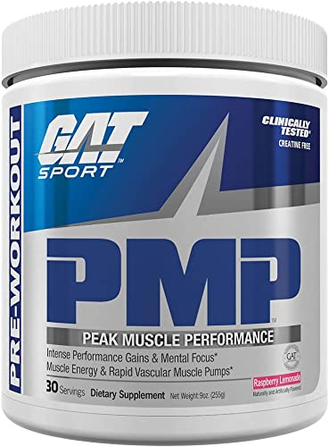 GAT Sport PMP Peak Muscle Performance, Raspberry Lemonade, 30 Servings