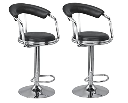 KS Chair Magma Bar Stool Chair in Black (Set of 2)