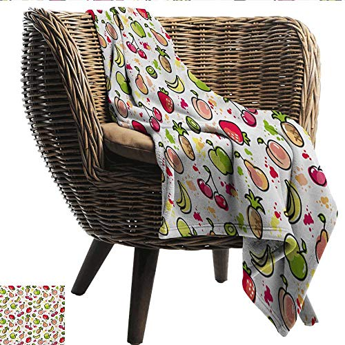 smllmoonDecor Hypoallergenic Blanket Fruits Watercolor Pear Cherries Kiwi Apple Brushstroke Splashes Cute Kids Kitchen Plush Throw Blanket W54 xL84 Sofa,Picnic,Camping,Beach,Everyday use ()