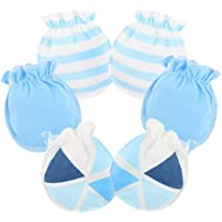 Ehdching 3 pack Baby Gloves Cotton no Scratch Mittens for 0-12 months Newborn Baby