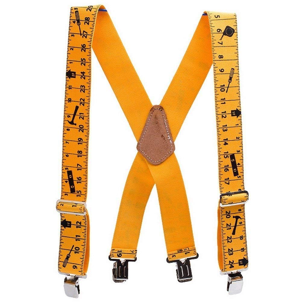 Tape Measure Suspenders Elastic Adjustable with 4 Strong Clips for Heavy Duty Work