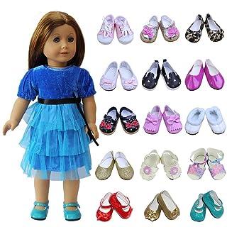ZITA ELEMENT 5 Scarpe e 1 Fiore da Testa per Bambola Americana da bambina18 Pollici, la mia Bambola di Vita, la Nostra Generazione e Altre Bambole da 45-46cm