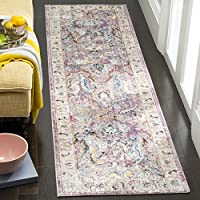 Safavieh Bristol Collection BTL357P Lavender and Light Grey Oriental Distressed Bohemian Runner (23 x 8)