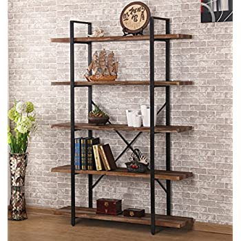 Ou0026K Furniture 5-Shelf Industrial Style Bookcase and Shelves Free Standing Storage shelf units & Amazon.com: Ou0026K Furniture 5-Shelf Industrial Style Bookcase and ...