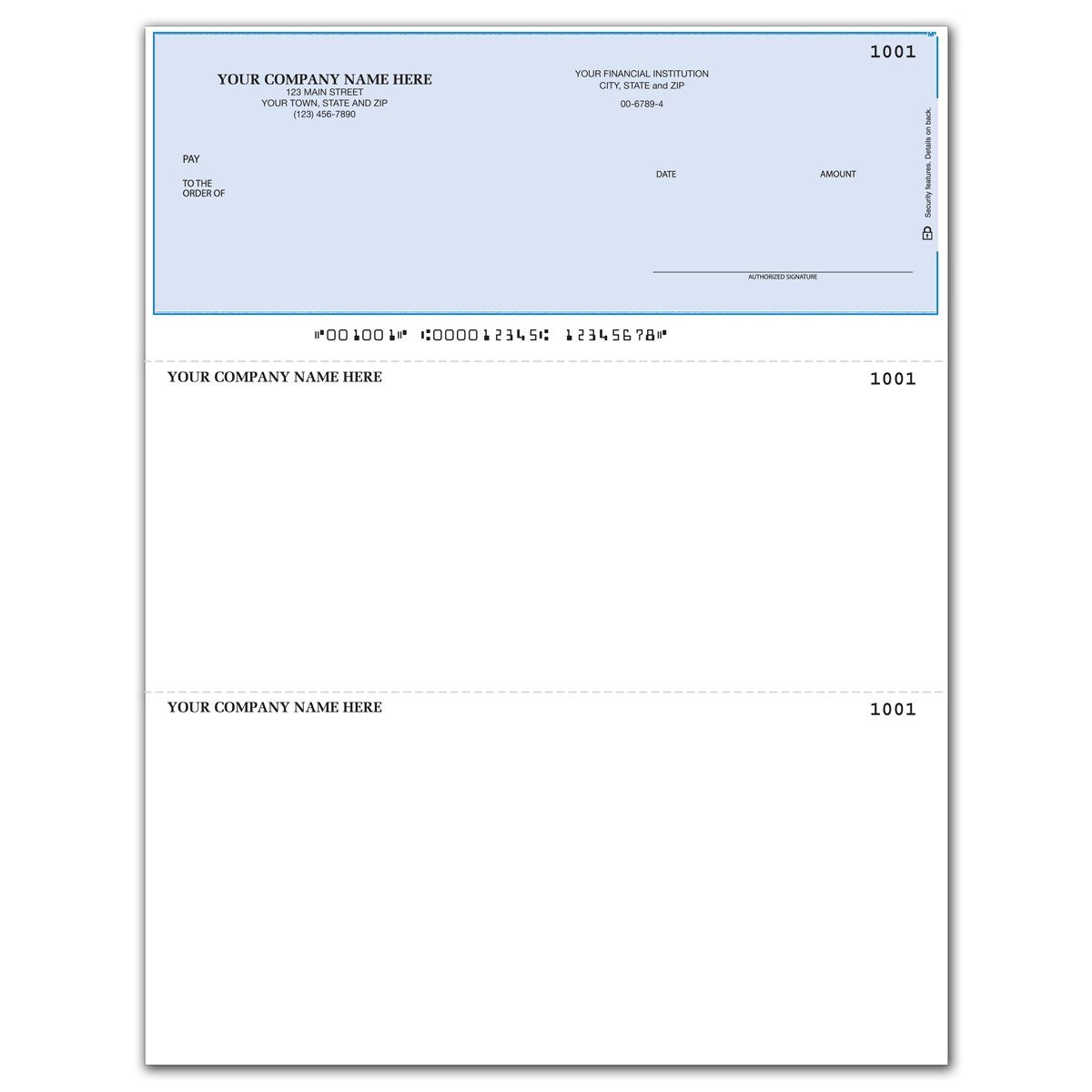 Laser Business Checks, Top Format, Compatible with MYOB Software (250 qty) - Custom