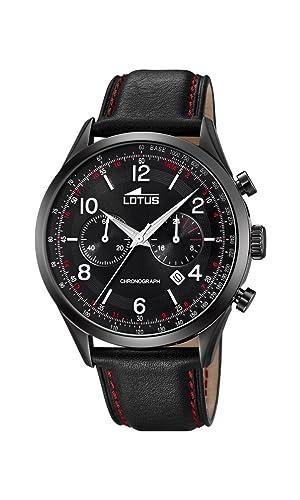 Lotus Watches Reloj Cronógrafo para Hombre de Cuarzo con Correa en Cuero 18559/1: Amazon.es: Relojes