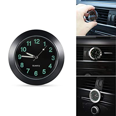 REACHS Car Dashboard Clock Cars Air Vent Quarz Clocks Mini, Perfect Decoration for Cars, SUV and MPV (Black): Home & Kitchen
