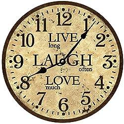 Doffed Live Laugh Love Wall Clock Rustic Brown Clock