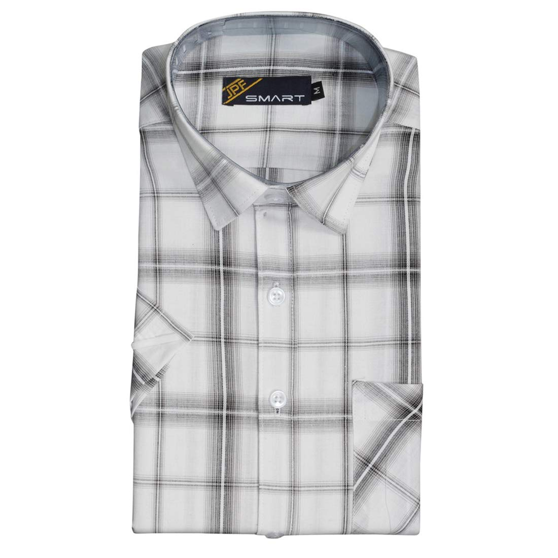 d74ebe225 JPF Smart Mens Checkered Cotton Regular Fit Casual Half Sleeve Shirt with Pocket  Colorful 100% Cotton Casual Clothing White: Amazon.in: Clothing & ...