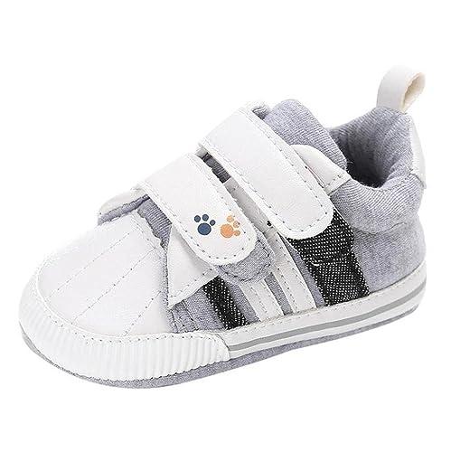 Auxma Zapatos de Lona de bebé, Recién Nacido bebé niñas niños Cuna Suela Suave Zapatillas Antideslizantes Zapatos de Lona Primeros Pasos por 0-18 Meses: ...
