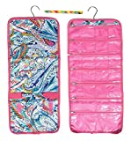 Best Pink Multi Paisley Hanging Jewelry Hanger Travel Bag Roll Bead Craft Organizer Set Unique Cool Great Funny Cute Girls Summer Camp Accessories Gift Idea Under 20 Dollars for Woman Her Wife Ladies