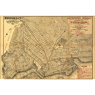 24x36 Poster; Map Of Brooklyn 1874; Antique Reprint