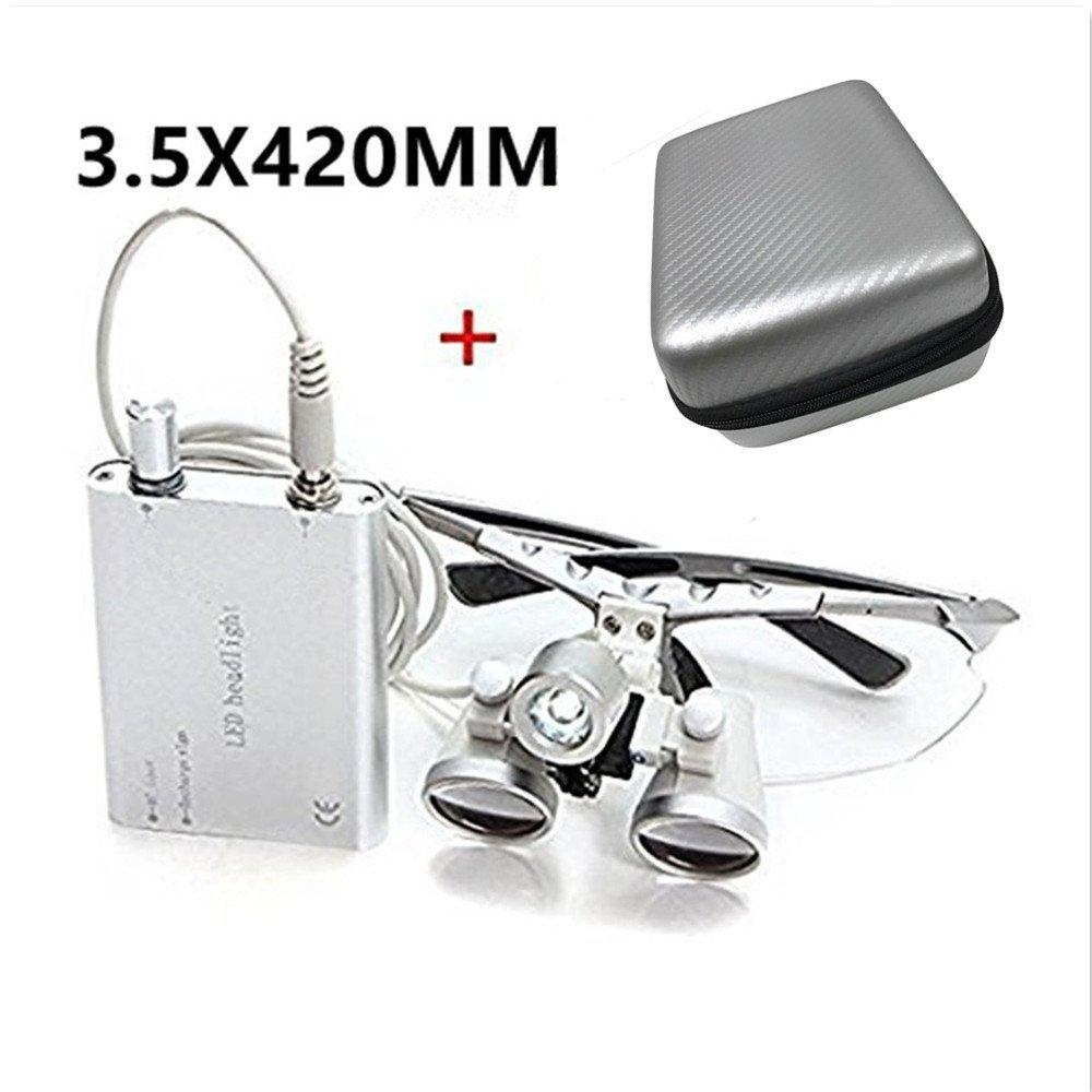 Zorvo 3.5X 420mm Dental Surgical Medical Binocular Loupes + LED Head Light Lamp + Carry Bag (Silver)