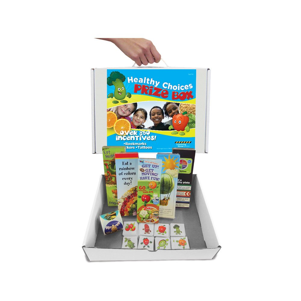 Learning Zonexpress 800+ Nutrition Incentives Healthy Choices Prize Box | Includes Stickers, Bookmarks, Temporary Tattos, Carrying Case