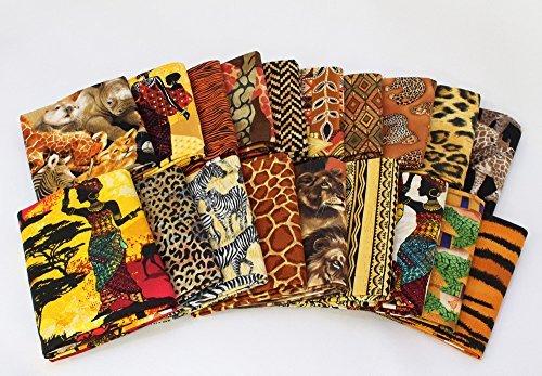 10 Fat Quarters - Africa African Fat Quarter Bundle Animals Lions Giraffe Zebra Rhino Geometric Safari Tribal Prints Assorted Quality Quilters Cotton Fabric (M226.06)