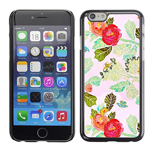 Soft Silicone Rubber Case Hard Cover Protective Accessory Compatible with Apple iPhone? 6 (4.7 Inch) - red flower watercolor leaves