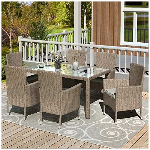 Garden and Outdoor Danxee 7 Piece Outdoor Patio Dining Set Wicker Glassed Table and Cushioned Chair Beige-Brown Wicker Furniture Seating patio dining sets