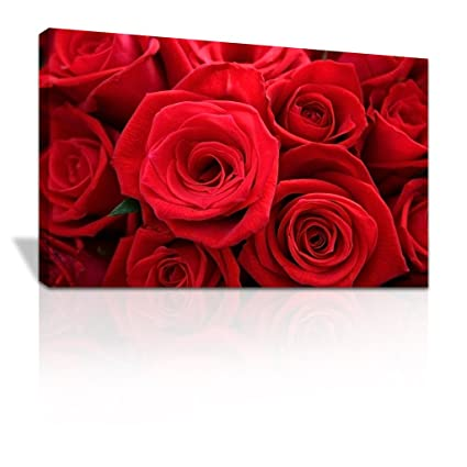 Canvas Print Beautiful Single Red Roses Close Up Floral