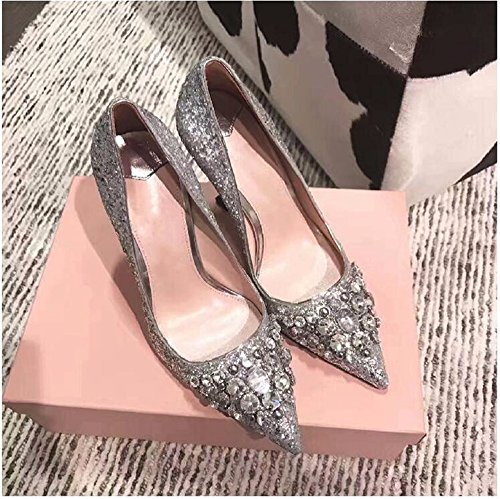 High Yards Shoes The Women Heel Single Seasons Spring Drilling Big And Point Shoes Water Shallow During Shoes New Autumn Silver Mouth HXVU56546 Rq8a0a