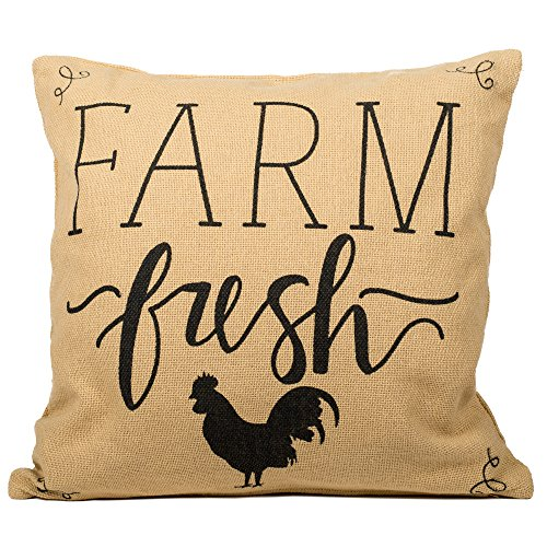 Rooster Silhouette (Rooster Silhouette Farm Fresh 16 x 16 inch Cotton Burlap Square Throw Pillow)