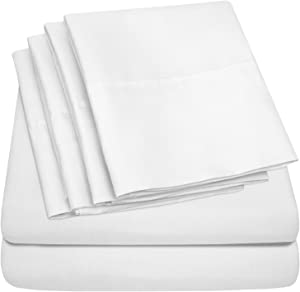 Sweet Home Collection Size 4 Piece 1500 Thread Count Fine Brushed Microfiber Deep Pocket Twin Sheet Set Bedding - 1 EXTRA PILLOW CASES, VALUE, White