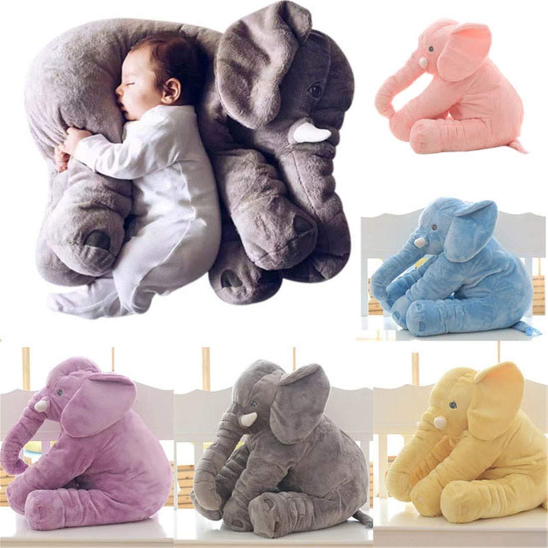 YQ CLZ-Doudou Peluche Nez Long Éléphant Poupée Coussin Douce Jouet Lombaire Animal mignon Elephant Oreiller pour bébés enfants - Bleu demeuble
