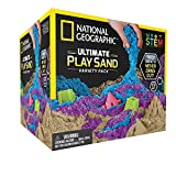 National Geographic Play Sand Combo Pack - 2 LBS Each of Blue, Purple and Natural Sand with Castle Molds