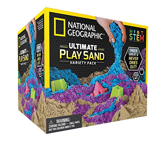 National Geographic Play Sand Combo Pack - 2 LBS Each of Blue, Purple and Natural Sand with Castle -