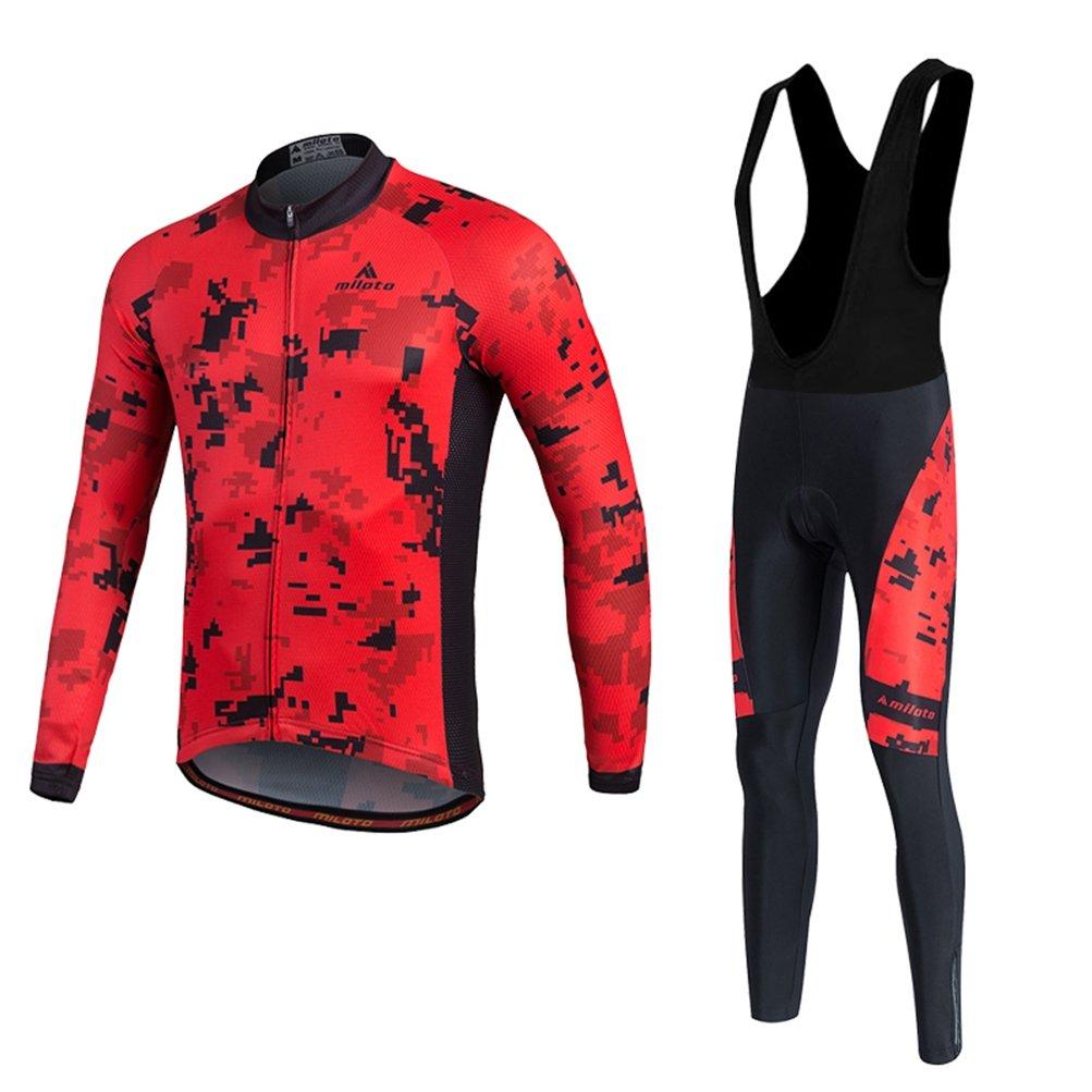 Uriah Men 's Cycling Jersey Bibパンツブラックセット長袖反射 B074M6FNJJ Chest 43.3''=Tag XL|Pixel Red Pixel Red Chest 43.3''=Tag XL