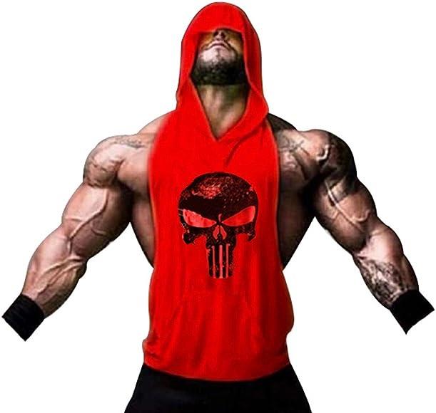 Deportiva para Pesas. Camisas Fitness sin Mangas con Capucha. (Castigador/ roja) ANK Top Hombre de Tirantes CAM - M: Amazon.es: Ropa y accesorios