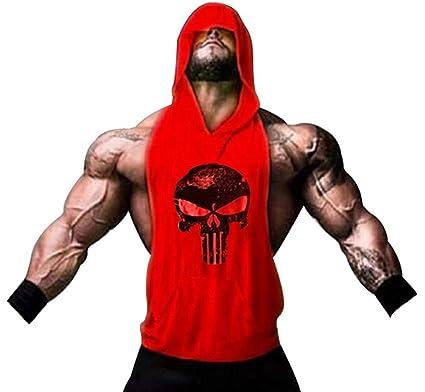 Tank Top Hombre de Tirantes Camiseta Deportiva de algodón para Pesas y Gym. Camisas Fitness sin Mangas con Capucha. (Castigador/roja): Amazon.es: Ropa y ...