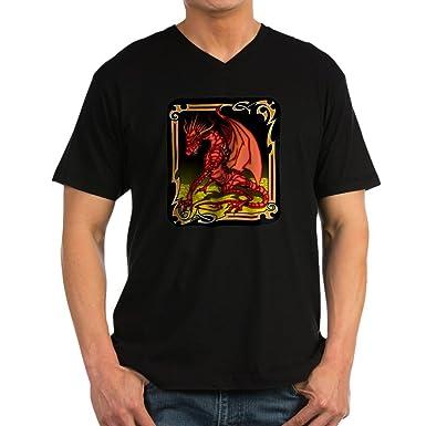 26e50bca0e Amazon.com: Royal Lion Men's V-Neck T-Shirt (Dark) Red Dragon Gold ...