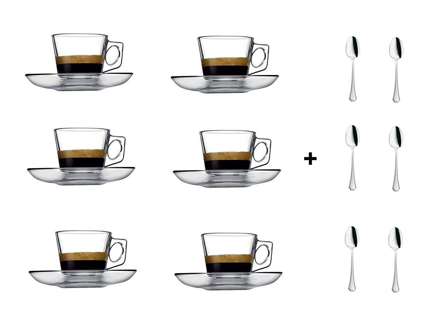 VELA 3.2-Ounce. Small Demitasse Clear Glass Espresso Drinkware, Set of 6 Cups/Saucers + Set of 6 Stainless Steel 18/10 mini Espresso Spoons! Hostess, Coffee Lover/Enthusiast, Espresso. PASABACHE